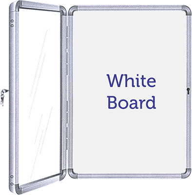 Acrylic Door Covered Lockable White Board